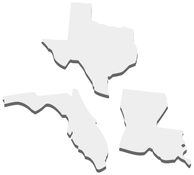 Texas, Louisiana & Florida